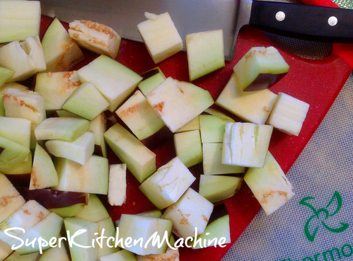 Eggplant cubed for Thermomix Caponata Recipe